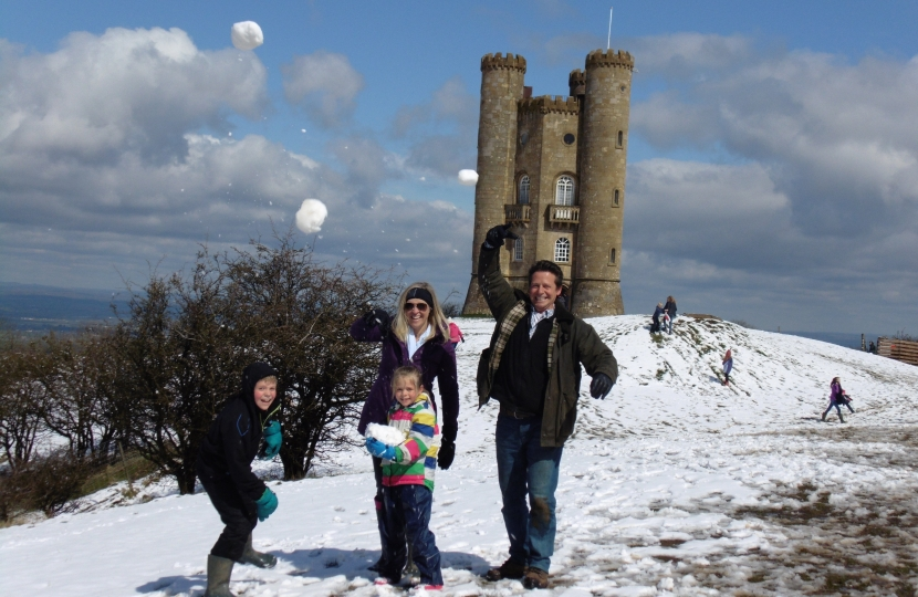 Nigel Huddleston with family at Broadway Tower