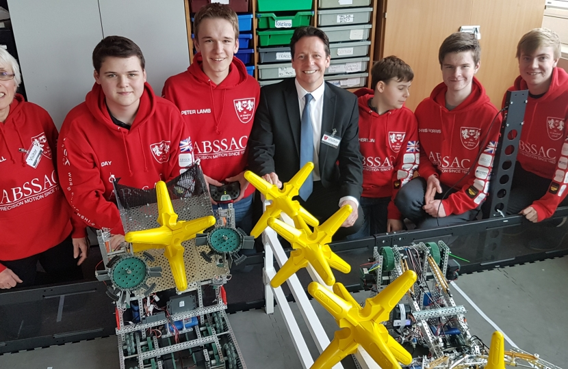 Nigel Huddleston with de Montfort School robotics