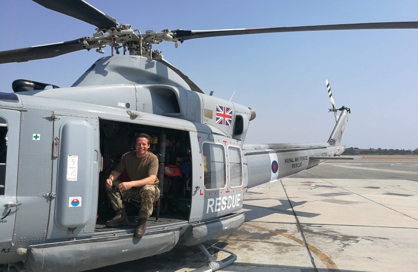 Nigel Huddleston MP in Griffin Helicopter at RAF Akrotiri