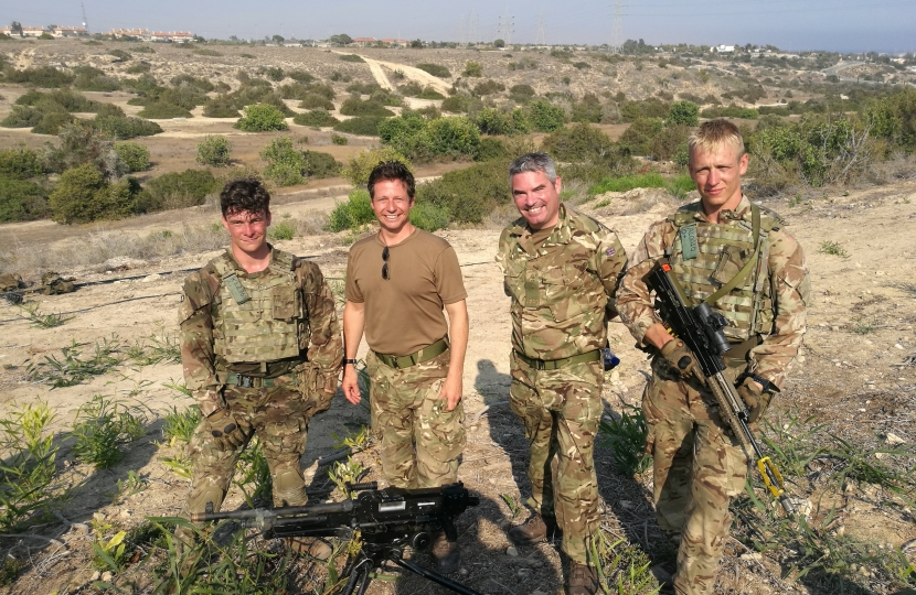 Nigel Huddleston MP with Royal Anglian Regiment soldiers