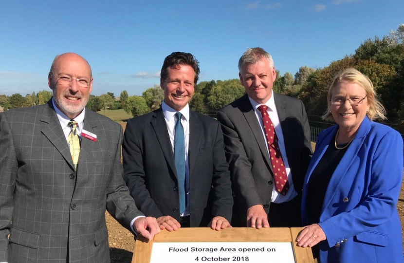 Nigel Huddleston MP at the opening of the Badsey Brook flood management scheme