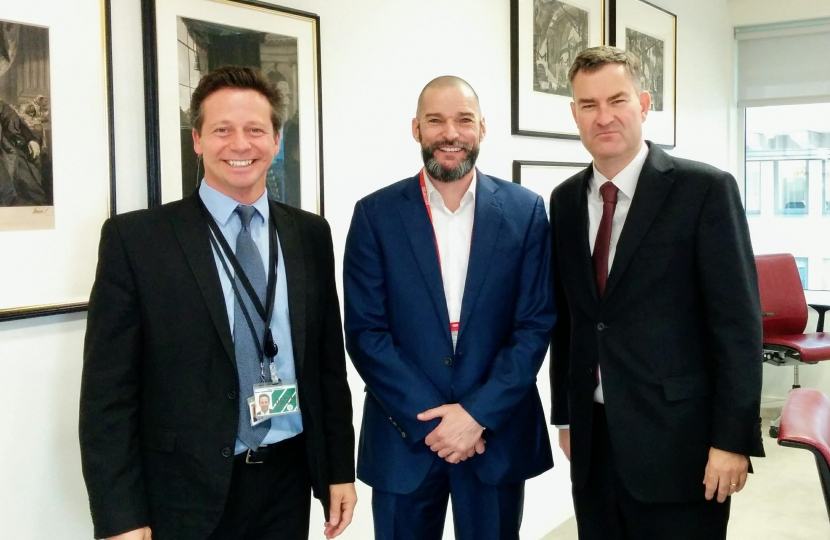 Nigel Huddleston MP with Fred Sirieix and Justice Secretary David Gauke