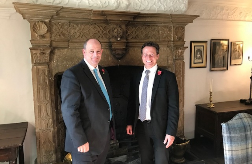 Nigel Huddleston MP with Jason Adams at the Lygon Arms