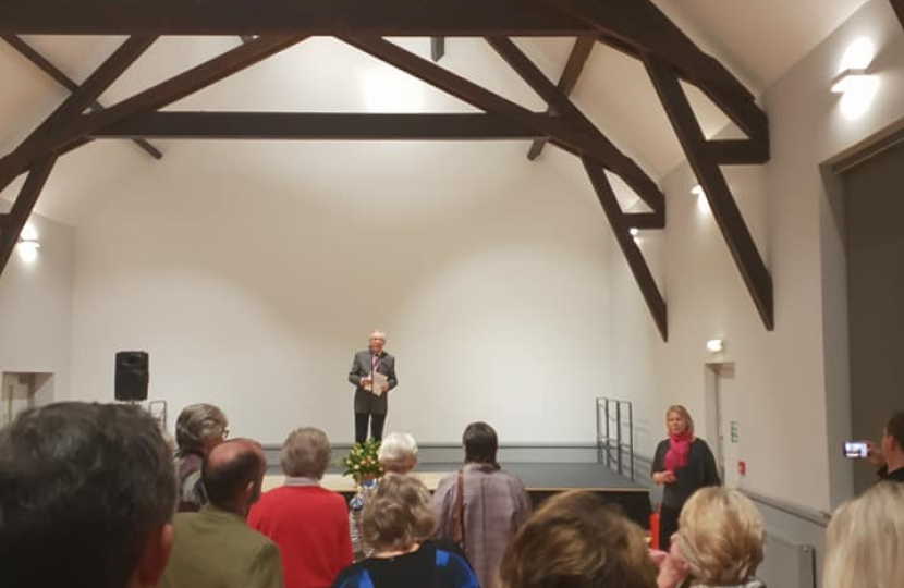 Nigel Huddleston MP at reopening of Main Hall in Ombersley