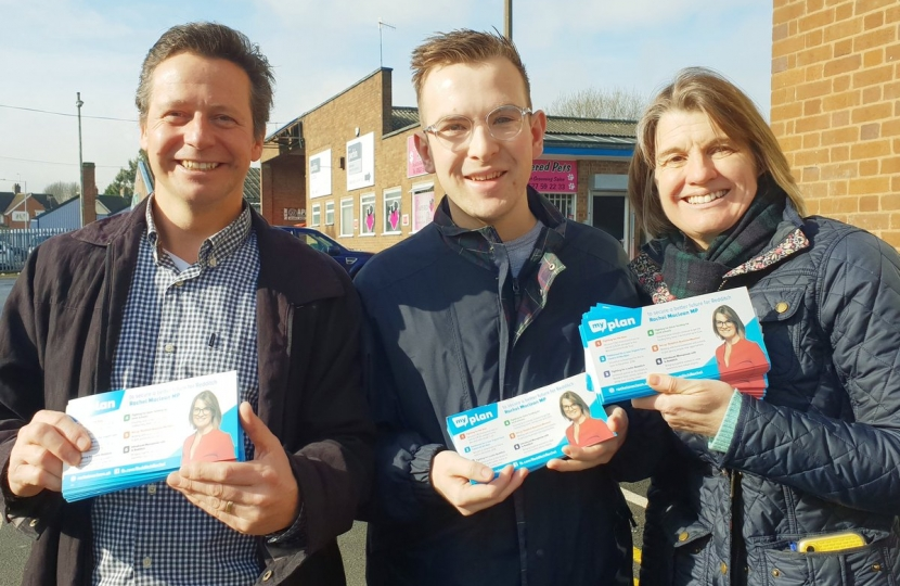 Nigel Huddleston MP with Rachel Maclean MP and Redditch candidate Pete Fleming