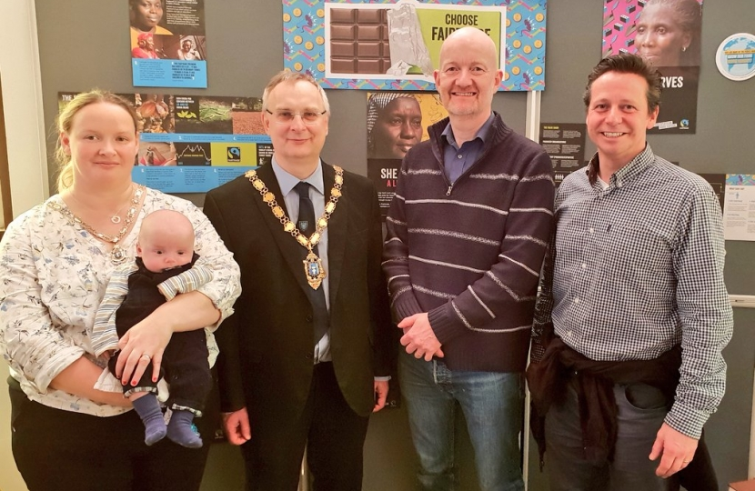 Nigel Huddleston MP with Dr Edward Pillar and Mark and Emma Goodge at Evesham Baptist Church pancake morning