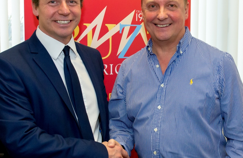 Nigel Huddleston MP with Steve Owens at Buzz Electrical